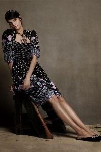 Anthropologie Dasha Smocked Midi Dress Black Motif – art nouveau inspired floral print dresses
