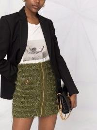 Balmain high-waist zipped tweed skirt khaki green – designer textured skirts