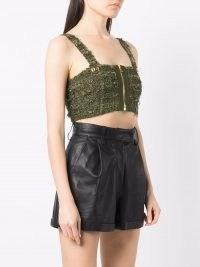 Balmain green tweed zip-up cropped vest – textured crop tops