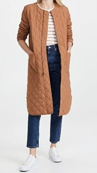 BB Dakota Quilt For Speed Coat in Dark Camel ~ brown longline curved hem quilted coats ~ womens autumn and winter outerwear