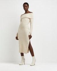 River Island Beige bardot midi jumper dress   neutral off the shoulder sweater dresses   womens knitwear   knitted fashion