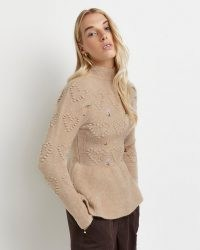 River Island Beige embroidered peplum hem knitted jumper | high neck floral jumpers | womens fashionable knitwear