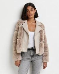 RIVER ISLAND Beige faux fur biker jacket ~ casual glamour ~ fluffy panel winter jackets