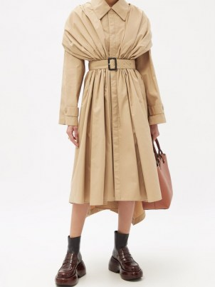 LOEWE Gathered cotton trench coat   womens beige belted coats   asymmetric hem   women's contemporary autumn outerwear - flipped