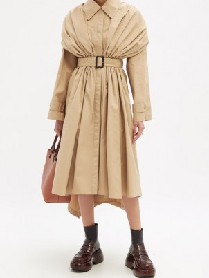 LOEWE Gathered cotton trench coat   womens beige belted coats   asymmetric hem   women's contemporary autumn outerwear