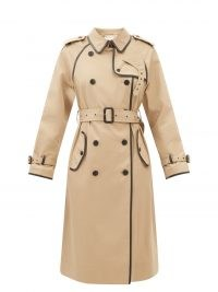 SAINT LAURENT Beige leather-piping gabardine trench coat   classic belted coats   womens autumn designer outerwear