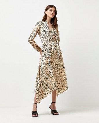 River Island Beige leopard print tie neck midi dress – animal print dresses with asymmetric hemline - flipped