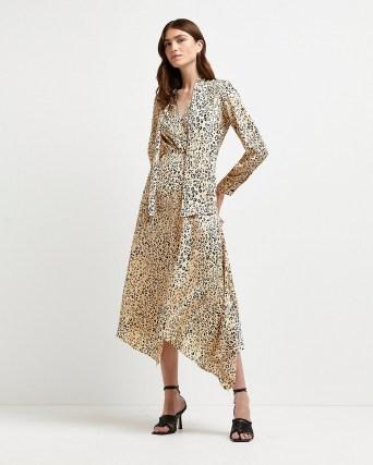 River Island Beige leopard print tie neck midi dress – animal print dresses with asymmetric hemline