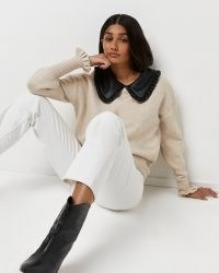 River Island Beige oversized collar knitted jumper | on-trend knitwear | large statement collared jumpers
