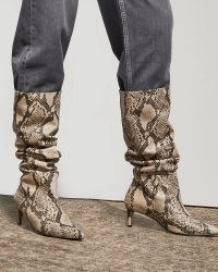RIVER ISLAND Beige RI Studio Snake Leather Slouch Boots ~ womens animal print slouchy calf length boots
