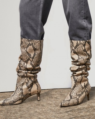 RIVER ISLAND Beige RI Studio Snake Leather Slouch Boots ~ womens animal print slouchy calf length boots - flipped