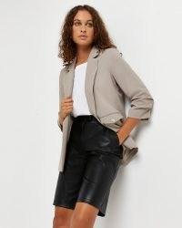 RIVER ISLAND Beige ruched sleeve blazer ~ womens gathered 3/4 length sleeve blazers ~ women's fashionable jackets