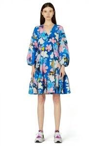 Kaitlin Johnson x Gorman BIG BLUE DRESS / floral silk linen blend balloon sleeve dresses / relaxed fit / tiered hem