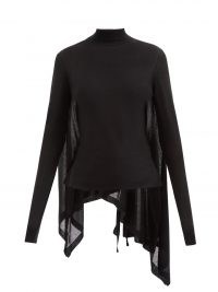 ANN DEMEULEMEESTER Alicia black high-neck cashmere-blend sweater ~ chic asymmetric drape back sweaters ~ contemporary knitwear