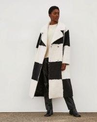RIVER ISLAND Black & White RI Studio Borg Coat ~ womens retro monochrome checkerboard coats ~ women's textured faux fur winter outerwear