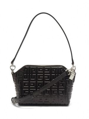 GIVENCHY Antigona logo embossed 4G XS black leather cross-body bag - flipped