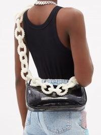 GERMANIER Beaded-strap black faux patent-leather baguette bag