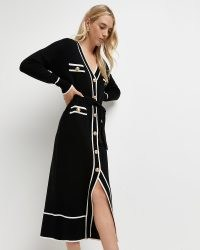 River Island Black belted knitted shirt dress – button front tie waist dresses – womens fashionable knitwear