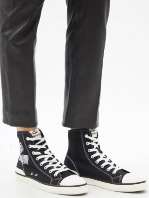 ISABEL MARANT Benkeen logo-print high-top canvas trainers / womens designer high top sneakers - flipped
