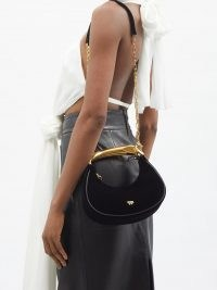 TOM FORD Bianca metal-handle black velvet shoulder bag ~ luxe top handle bags ~ chic designer handbags
