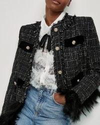 RIVER ISLAND Black boucle exaggerated shoulder jacket ~ glamorous tweed style jackets