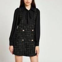 RIVER ISLAND Black boucle tie neck detail mini dress ~ textured tweed inspired dresses
