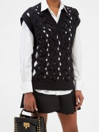 VALENTINO Braided-effect wool-blend sweater – chic cut out sweater vests