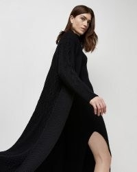 River Island Black cable knit longline cardigan   womens long open front cardigans