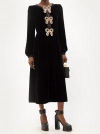 SALONI Camille crystal-bow black velvet midi dress – luxury vintage style dresses – womens luxe designer fashion