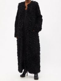 RAEY Collarless curly shearling maxi coat in black ~ women's glamorous textured vintage style winter coats ~ retro glamour ~ womens luxe outerwear