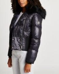 River Island Black cropped bomber jacket | womens padded faux fur hood jackets | women's fashionable winter outerwear