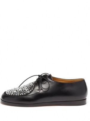 LOEWE Crystal-embellished black leather Derby shoes - flipped