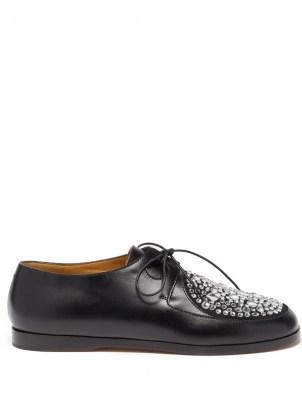 LOEWE Crystal-embellished black leather Derby shoes