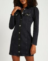 River Island Black denim mini dress   casual shirt dresses