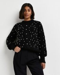 River Island Black embellished cable knit jumper | chunky pearl decorated jumpers | womens on-trend knitwear
