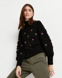 River Island Black embroidered chunky knit jumper   high neck textured jumpers   womens floral knitwear
