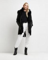 River Island Black faux fur lined parka coat – womens winter parkas – women's fashionable hooded coats