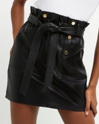 River Island Black faux leather belted mini skirt | on trend stud detail tie waist skirts