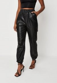 MISSGUIDED black faux leather cargo joggers – womens sports luxe jogging bottoms – women's cuffed hem pants