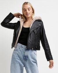 Black faux leather hooded biker jacket – casual faux fur lined jackets – womens modern classic outerwear