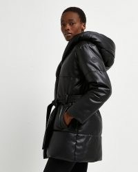 RIVER ISLAND Black faux leather padded puffer coat – womens hooded tie waist coats