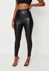 MISSGUIDED black faux leather slim leg biker trousers – glamorous skinnies