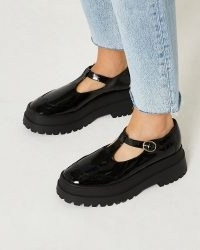 RIVER ISLAND Black flatform Mary Jane pumps / faux leather shiny patent finish mary janes / womens chunky t bar flatforms / on trend thick sole and heel shoes