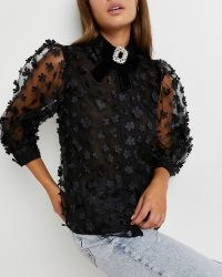 River Island Black floral organza shirt | sheer puff sleeve blouse | flower applique shirts | romance inspired fashion | romantic style blouses