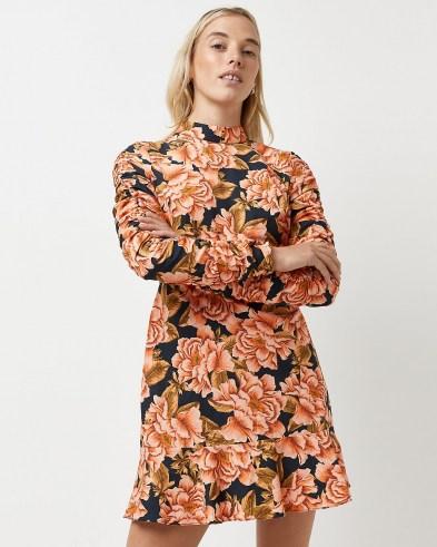 RIVER ISLAND Black floral ruched mini dress / gathered sleeve dresses - flipped