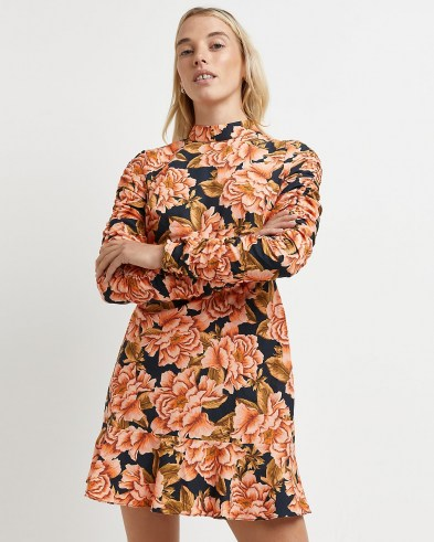 RIVER ISLAND Black floral ruched mini dress / gathered sleeve dresses