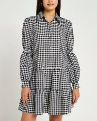 River Island Black gingham tiered mini dress | checked puff sleeve dresses