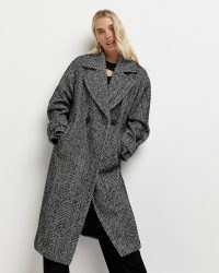 RIVER ISLAND Black herringbone double breasted coat – womens oversized winter coats