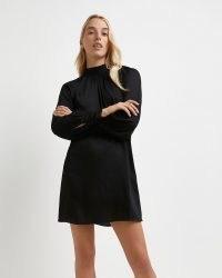 River Island Black high neck mini dress   chic LBD   womens party fashion