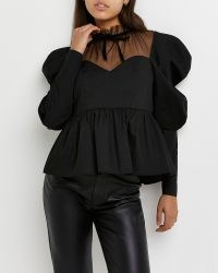 River Island Black high neck peplum hem top – semi sheer puff sleeve tops – romantic fashion